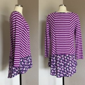 Anthropologie Purple Fairley Hi Low Stripped Tunic